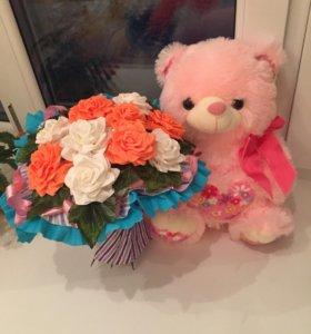 Наборчик Мишка+букетик цветов