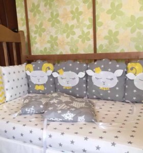 Бортики в кроватку кокон гнёздышко одеяло