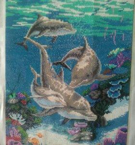 Картина собранная в технике алмазная мозайка.