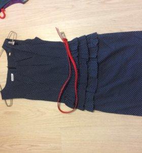 Платье с баской в горох