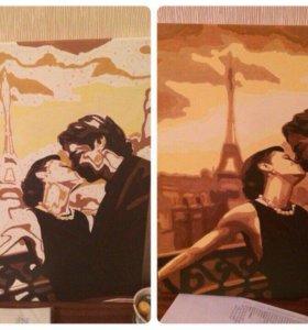 Раскраска по номерам.поцелуй