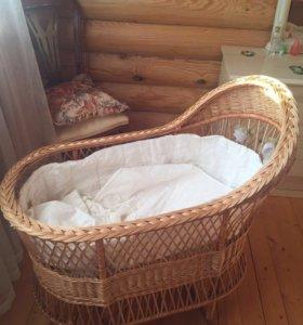 Люлька плетёная для новорождённых