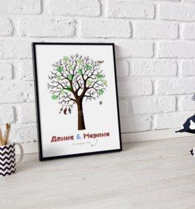 Дерево пожеланий для гостей в стиле бохо