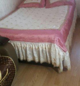 Плед  покрывало для двуспальная  + шторы