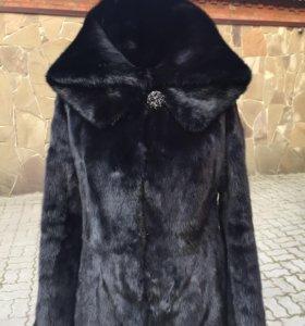 Норковая шуба чёрная длина 80