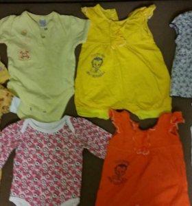 Бодики и платьица для девочки от 3 до 6 месяцев