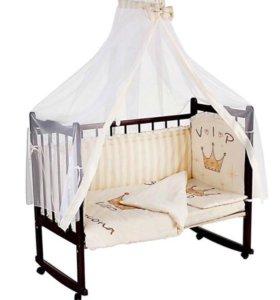Комплект постельного в детскую кроватку новорожден