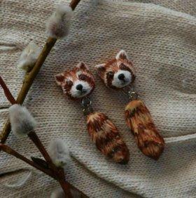 сережки - гвоздики со зверушками