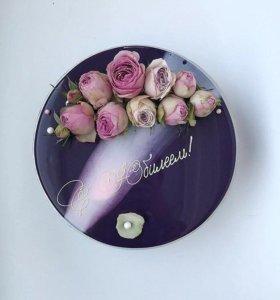 Муссовый торт с живыми цветами