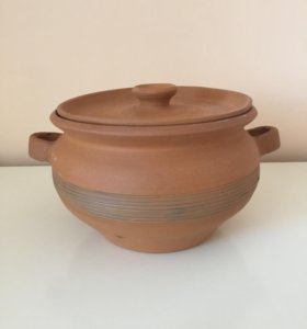 Глиняная кастрюля с крышкой