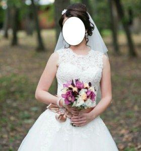 Свадебное платье цвет айвори+новые серьги!