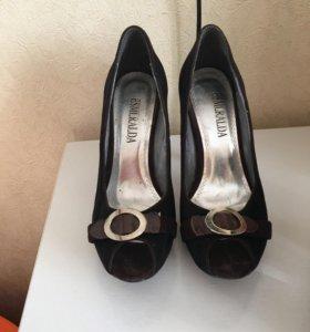 Туфли натуральная замша размер 35/36, бу 1-2 раза
