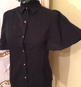 Шифоновая блузка чёрная и белая
