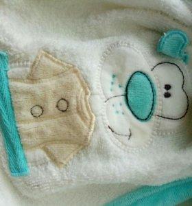 Полотенце с карюшоном и халат комплект