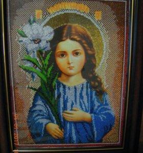 """Икона бисером """"Богородица Трилетствующая"""""""