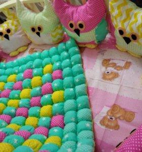 Одеяло бон-бон, бортики Совушки