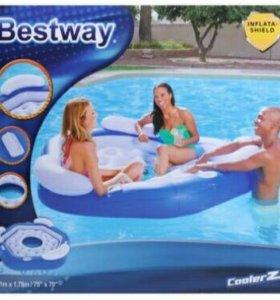 Шезлонг надувной для отдыха на воде для троих