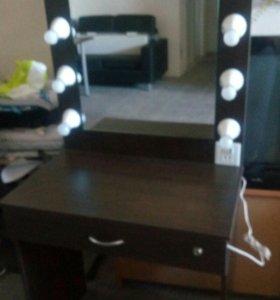 Столик визажиста гримерный с лампочками