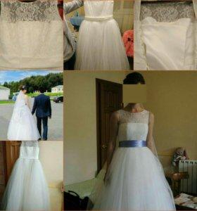 Белое свадебное платье с вуалью