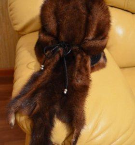 Норковая шапка с кожаным переплётом👒👒👒