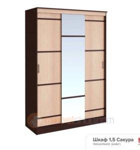 Шкаф купе с зеркалом сакура1