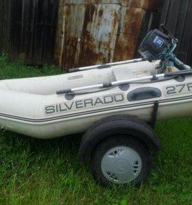 Лодка ПВХ сильверадо с прицепом и мотором Ветерок