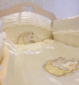 Бортики на детскую кроватку , подушка и одеяло