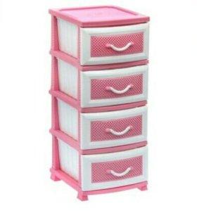 """Комод 4 секции """"Дельфин"""", цвет розовый/белый"""