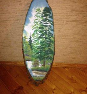 Шикарная картина из натурального дерева и камней
