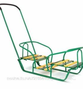 Санки для двойни+2 сиденья с чехлами д/ног