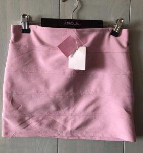 Нежно-розовая юбочка стрейтч 42-46