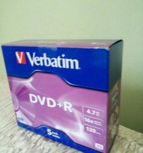 Диск DVD+R Verbatim 5шт.