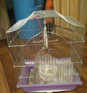 клетка для попугая или хомы, колесо и поилка,
