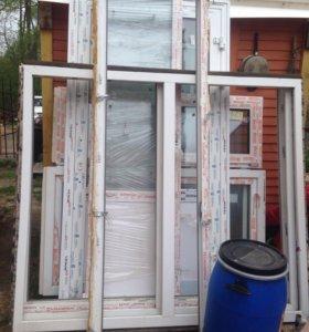 Дверь балконная и окно двухстворчатое