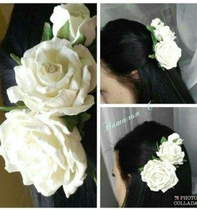 Украшение -розы в волосах-