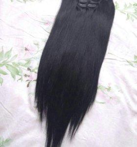 Натуральные волосы на заколках, на трессах