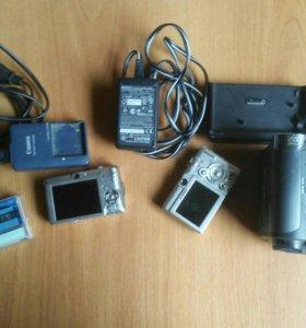 Видеокамера и 2 фотоаппарата