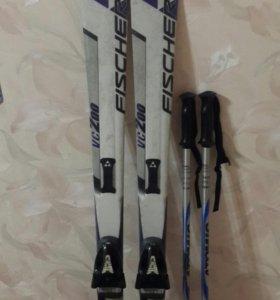 ПРОДАМ Горные лыжи,ботинки(39 размер)и палочки