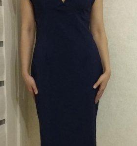Платье 48р-р синее