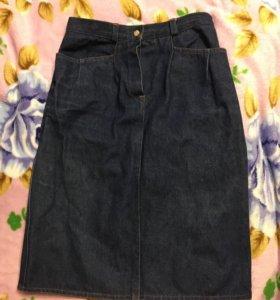 Юбка джинсовая с завышенной талией