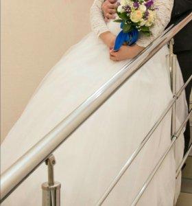 Свадебное платье с рукавами, высокая посадка