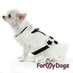 Платье вязаное цветы (одежда для собак)
