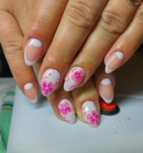 Наращивание ногтей и ресниц, макияж