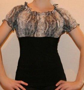 Новая блуза трикотаж-шифон 44,46,48,50 размеры