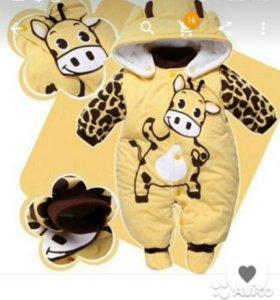 Теплый комбинезончик Жирафик