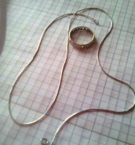 Серебрянная цепочка с кольцом
