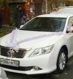 Свадебные кольца на машину, бант на капот, зеркала