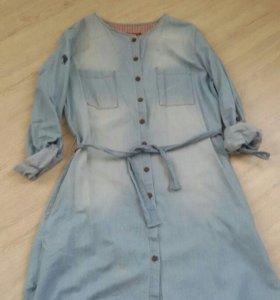 Тонкое джинсовое платье р.46