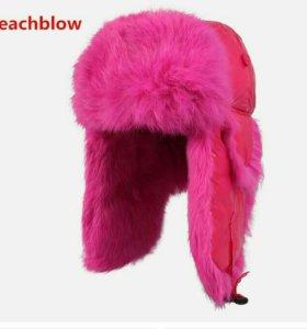 Шапка Новая Розовая Мех- Песец