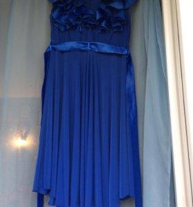Шикарное синее платье 46-48